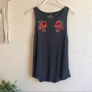 American Eagle Soft and Sexy Embroidered Rose Tank